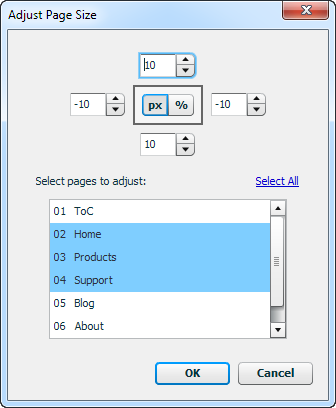 Adjust Page Size dialog