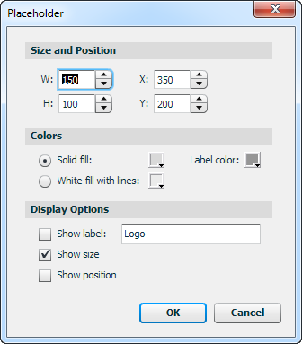 Placeholder Properties Dialog