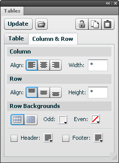Column & Row tab