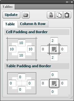 Tables tab
